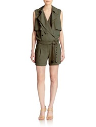 Haute Hippie Belted Trench Style Silk Short Jumpsuit Fatigue