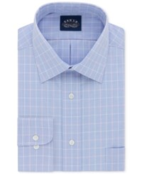 Eagle Men's Classic Regular Fit Non Iron Flex Collar Blue Check Dress Shirt Azure