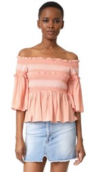 Endless Rose Smocked Bell Blouse Nude Pink