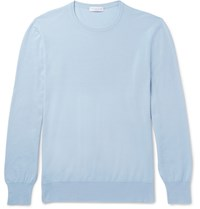 Richard James Slim Fit Virgin Wool Sweater Blue