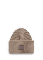 Acne Studios 'Pansy' Emoticon Patch Wool Beanie Brown