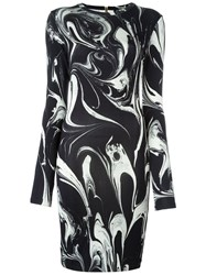 Balmain Marble Print Dress Black