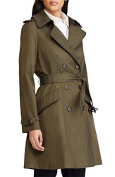Lauren Ralph Lauren Double Breasted Short Trench Coat Loden