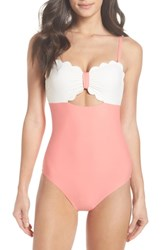 Chelsea 28 Chelsea28 Scallop Bandeau One Piece Swimsuit Coral Shell Ivory Egret