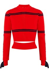 Fendi Cutout Faille Trimmed Striped Pointelle Knit Sweater Red
