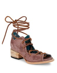 Freebird Peace Distressed Leather Ghille Sandals Purple