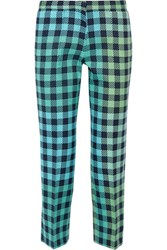 Victoria Beckham Cropped Gingham Wool Blend Straight Leg Pants Mint