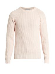 Ami Alexandre Mattiussi Ribbed Knit Cotton Sweater Pink