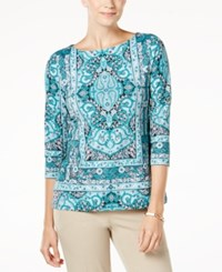 Charter Club Petite Printed Boat Neck Top Created For Macy's Deep Pine Combo