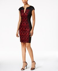 Connected Lace Panel Sheath Dress Black Red