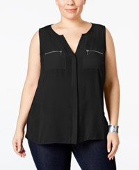 Inc International Concepts Plus Size Split Neck Zipper Blouse Only At Macy's Deep Black