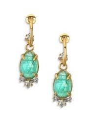 Alexis Bittar Green Tourmaline Labradorite Doublet Silver Satin And Swarovski Crystal Drop Earrings Gold Green