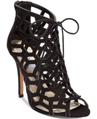 Chelsea And Zoe Phemie Cutout Lace Up Booties Women's Shoes Black