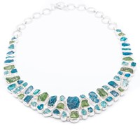 Poppy Jewellery Handmade Statement Peridot And Apatite Gemstone Silver Necklace Green
