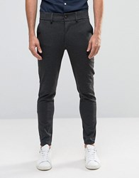 Only And Sons Slim Fit Trouser With Cuffed Hem Dark Grey