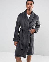 French Connection Fleece Dressing Gown Grey
