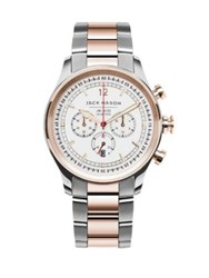 Jack Mason Nautical Chronograph Two Tone Stainless Steel Bracelet Watch Silver