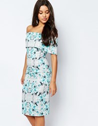 Asos Off The Shoulder Bardot Midi Pencil Dress In Grey And Blue Floral Multi