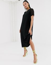 Na Kd Mesh Midi T Shirt Dress In Black