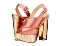 Charlotte Olympia Electra Power Pink Gold Satin Perspex High Heels