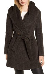 Trina Turk Grace Hooded Wrap Walker Coat Brown Black