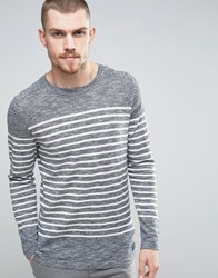 Selected Homme 100 Cotton Crew Neck Knitted Stripe Sweater Navy