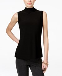 Inc International Concepts Petite Ribbed Mock Neck T Shirt Only At Macy's Deep Black