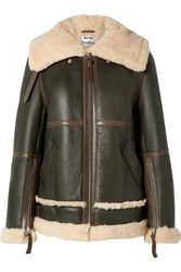 Acne Studios Raf Long Leather Trimmed Shearling Jacket Army Green