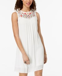 Trixxi Juniors' Embroidered Lace Up Dress Ivory