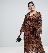Lost Ink Plus Maxi Dress With Tie Waist In Leopard Print Multi