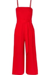 J.Crew Marseille Belted Linen Jumpsuit Red