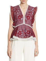 Alexis Kirk Ruffled Embroidered Lace Peplum Top Burgundy Mosaic