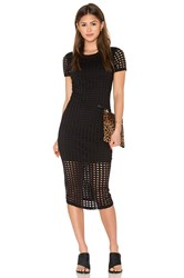 Kendall Kylie Laser Cut Out Midi Dress Black