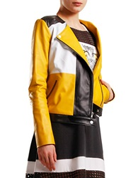 Emmerich Color Block Moto Jacket Yellow Multi
