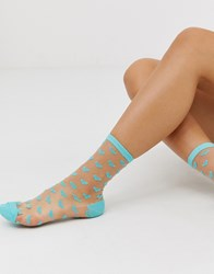 Gipsy Sheer Heart Mesh Sock In Blue
