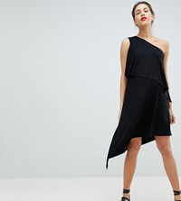 Isabella Oliver Drapey One Shoulder Dress With High Low Hem Black