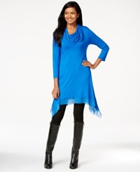 Cable And Gauge Cowl Neck Handkerchief Hem Tunic Top Olympian Blue