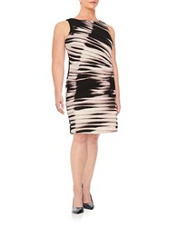 Ivanka Trump Plus Pleated Sheath Dress Peony Black