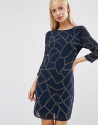Maya Long Sleeved Embellished Shift Dress Navy Base Gold And Br