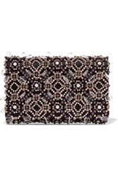 Oscar De La Renta Embellished Satin Clutch Purple
