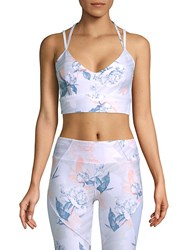 Betsey Johnson Strappy Back Printed Sports Bra White