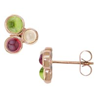 London Road 9Ct Gold 3 Stone Bubble Round Stud Earrings Rose Gold Multi