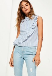 Missguided White Sleeveless Ruffle Stripe Cotton Shirt