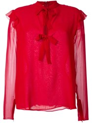 Giambattista Valli Lace Up Blouse Red