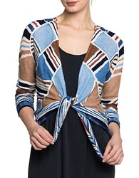 Nic Zoe Printed Tie Front Cropped Cardigan