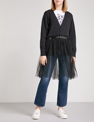 5Cm Flared Hem Cotton And Tulle Cardigan Black