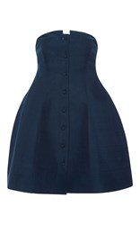 Rosie Assoulin Strapless Lamp Top Blue