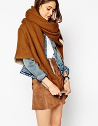 Asos Oversized Reversible Scarf In Camel Camelwhite