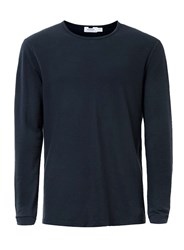 Topman Navy Pique Textured Long Sleeve T Shirt Blue