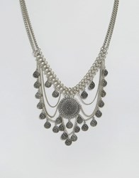 Glamorous Multi Disc And Chain Statement Necklace Silver